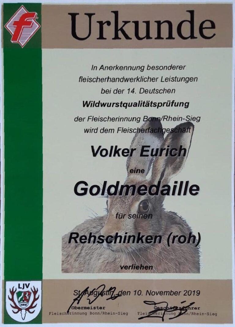 Urkunde Volker Eurich Goldmedaille