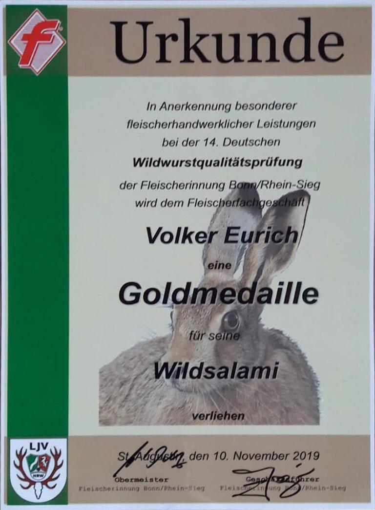 Goldmedaille Wildsalami Volker Eurich